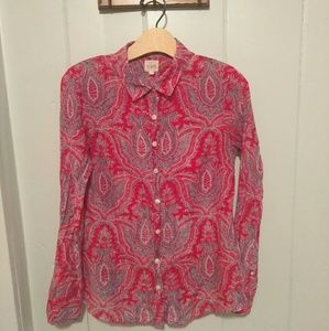 J. Crew The Perfect Shirt- red paisley blouse